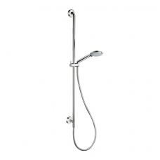 Dušo stovas su reguliuojamu laikikliu, išvadu ir kelių srovių rankiniu dušeliu