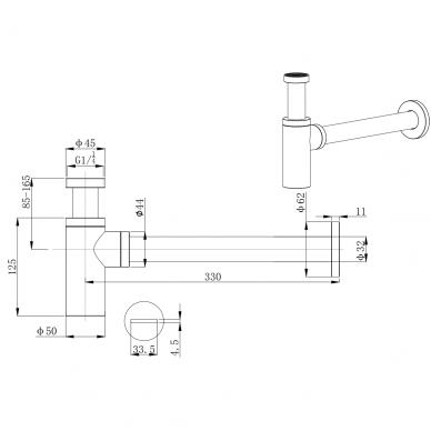 Praustuvo sifonas Šlifuotas Juodas chromas (brushed Gun metal) SFGM330 2